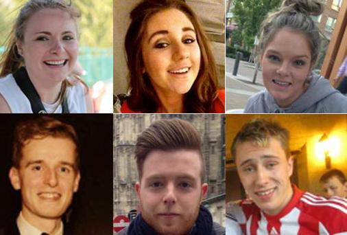 The Irish students killed in the Berkeley balcony collapse: Eoghan Culligan, Nick Schuster, Lorcán Miller, Eimear Walsh and Olivia Burke, all 21 years old and friends from south Dublin. The sixth fatality is Irish-American Ashley Donohoe (22), from California.