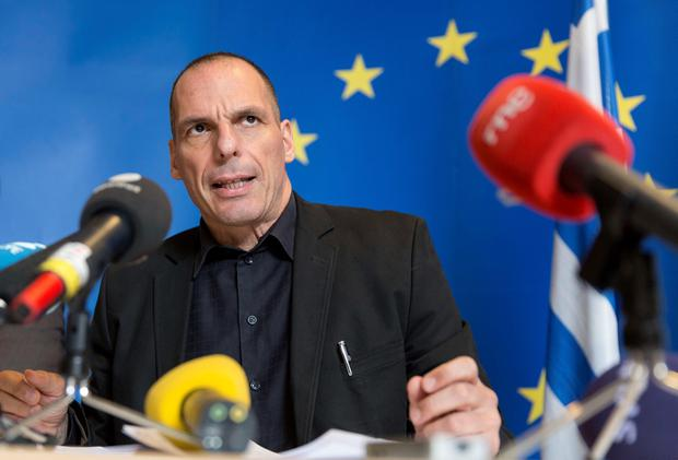 Greek Finance Minister Yanis Varoufakis gives a press conference at the end of a eurozone finance ministers meeting at the European Union Council headquarters in Luxembourg on June 18, 2015. AFP/Getty Images