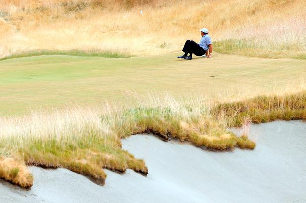 Phil Mickelson of the United States is seen on the 18th hole during the first round of the 115th U.S. Open Championship at Chambers Bay on June 18, 2015 in University Place, Washington. (Photo by Andrew Redington/Getty Images)