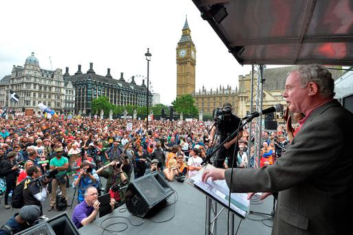 Deputy First Minister Martin McGuinness speaks at the End Austerity Now rally in Parliament Square, London. Photo: John Stillwell/PA Wire