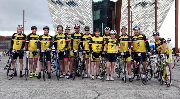 Members of the Titanic Cycling Club prepared for the Gran Fondo. Pic: Freddie Parkinson/Press Eye.