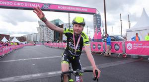 Winner Mark Kane as he crosses the line at Titianic Quarter in Belfast during the Gran Fondo. Pic: Kevin Scott/Presseye.