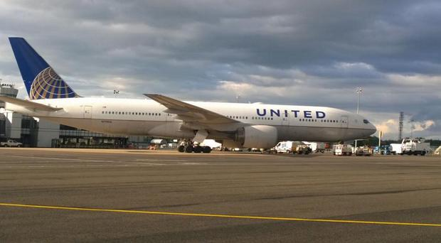The man was a passenger on a United Airlines flight from Rome to Chicago which was diverted to Belfast International Airport. Pic: @BelfastAirport