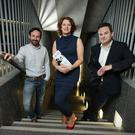 Michael Condron, local actor, Dorcas Crawford, Senior Partner at Edwards & Co Solicitors and Declan Lawn, BBC launch The Better Way at the MAC.
