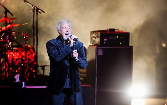 Tom Jones on stage at the Waterfront Hall in Belfast. Photograph by Kevin Scott