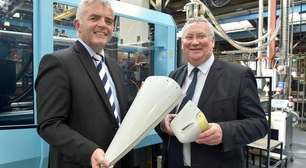 Enterprise, Trade and Investment Minister Jonathan Bell has announced Denroy Plastics is to create 32 new in Bangor through a £3million investment. The investment, supported by Invest Northern Ireland, will see staged expansion of production capacity at the Denroy factory premises and the purchase of new equipment to support the companys growth in the global aerospace industry. Pictured with the Minister at the companys premises at Balloo Industrial Estate is John Rainey, Chairman of Denroy Group. Photo by Simon Graham/Haarrison Photography PRESS RELEASE DEPARTMENT OF ENTERPRISE, TRADE AND INVESTMENT 23 June 2015 Bell announces £3million investment and 32 new jobs at Denroy Plastics Enterprise Trade and Investment Minister Jonathan Bell has announced Denroy Plastics is to create 32 new jobs in Bangor with a £3million investment. Invest Northern Ireland is supporting the investment which will involve a staged expansion of the production capacity at Denroys factory premises and purchasing new equipment to support the companys growth within the global aerospace industry. Jonathan Bell said: Denroys plans to develop its aerospace production facility is a significant investment and marks a step change in the companys ambition to grow sales within the international aerospace sector. The 32 new jobs to be created by 2017 will provide valuable employment opportunities to work with cutting edge technology and generate almost £600,000 annually in additional salaries for the Northern Ireland economy. Invest NI has worked closely with the business over a number of years and its support with this expansion will ensure that Denroy Plastics has the capabilities and resources to thrive and grow. Denroys sustained commitment to market-led innovation will benefit the company as it seeks to compete for new and innovative business opportunities on a global stage. John Rainey, Denroys Managing Director, said: The aerospace sector is