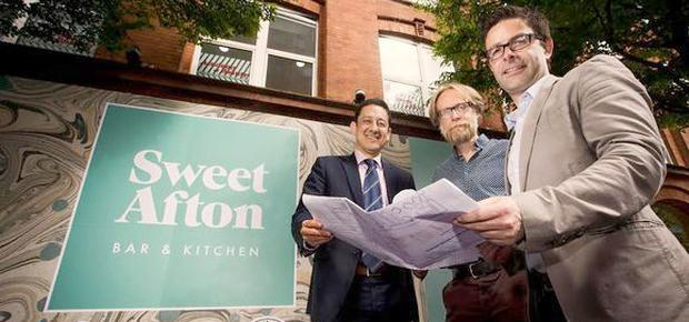 Sweet Afton: Jorge Lopes (Diageo), Gordon Devenney (ODonnell ONeill Design Associates) and Paul Langsford, (Director of The Perch and The Sweet Afton)