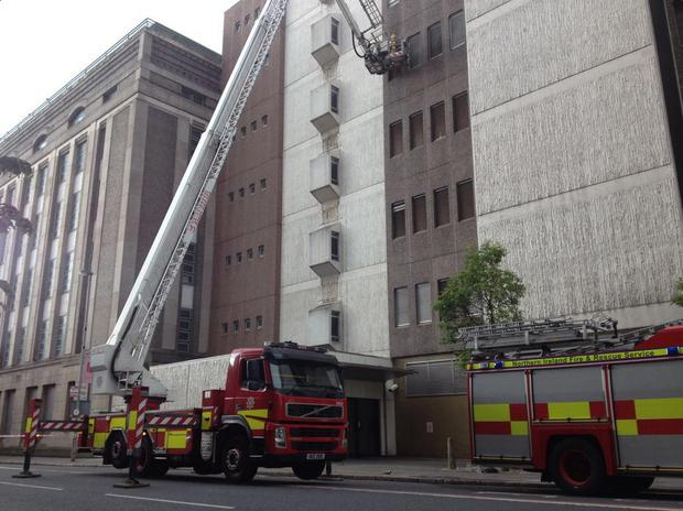 A fire engine at the scene on May Street. Pic BBC