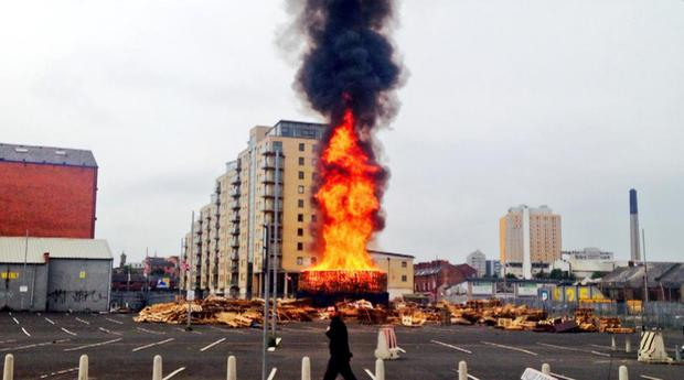 The bonfire at Sandy Row has been set alight early in 2015. Pic Twitter/StephenMcVey/BBC