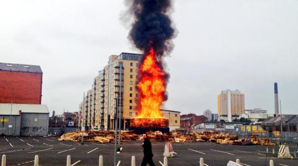 The bonfire at Sandy Row has been set alight early. Pic Twitter/StephenMcVey/BBC