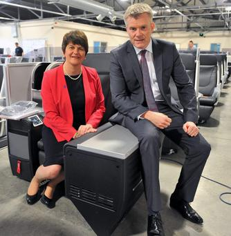 Former Enterprise Minister Arlene Foster with Gary Montgomery of Thompson Aero Seating during a visit to the Portadown company