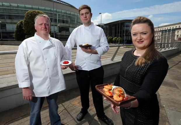 Sharon and Alan Foster, owners of Tedfords Restaurant in Belfast with chef Mark Devlin (centre)