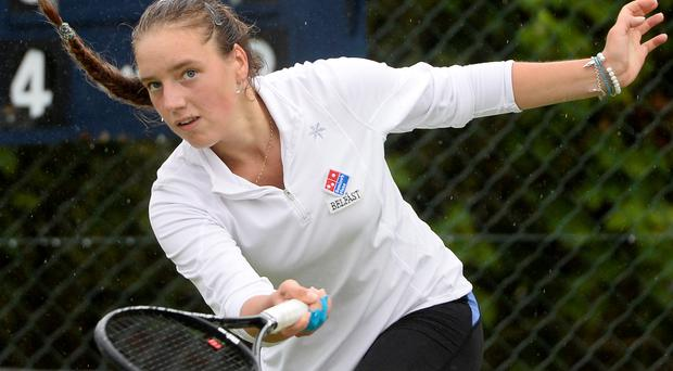 On court: Karola Bejenaru needs to win two qualifying matches to reach the girls championships at Wimbledon
