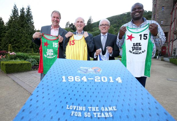 Familiar faces: Ronnie Whiteside, Danny Fulton, Bill McCotter and Javan Dupree launch the Belfast Star book