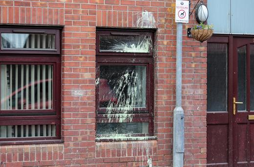 Bryson Street in the Short Strand area of Belfast following a paint bomb attack. Pic: Kevin Scott/Presseye.Presseye