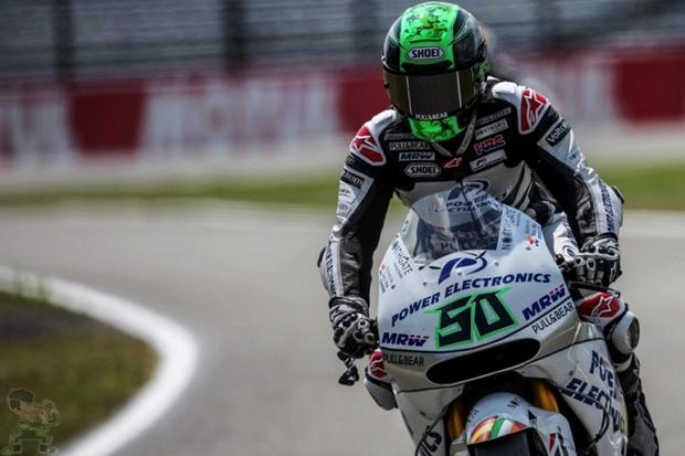 Before the fall: Eugene Laverty in action ahead of his Assen crash
