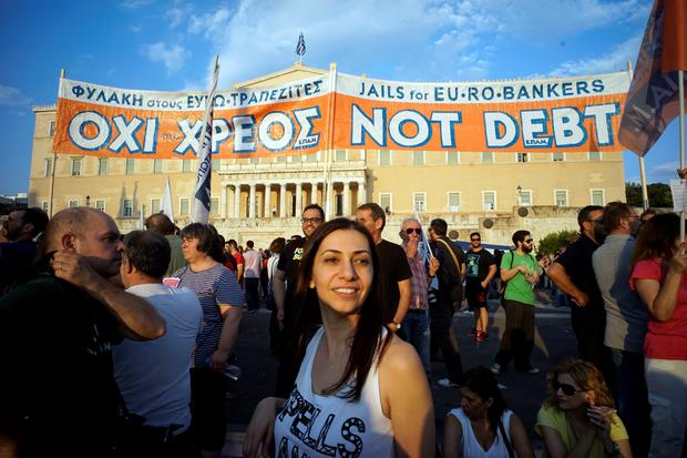 Demonstrators during a rally in Athens, Greece, 29 June 2015 (Photo by Milos Bicanski/Getty)