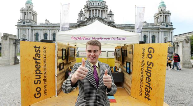 Ruairí is pictured at City Hall in Belfast where he officially launched the campaign. Picture by Kelvin Boyes / Press Eye.