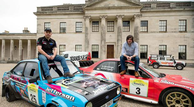 High hopes: Competitors Frank Kelly and Garry Jennings pictured at yesterday's launch of the Todds Leap Ulster Rally in Fermanagh
