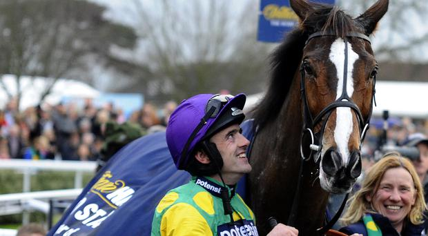 King of the course: Ruby Walsh smiles as he looks at Kauto Star after winning The King George VI Chase at Kempton racecourse Boxing Day 2011