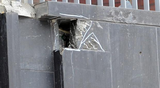 Some of the damage which is visible on the outside of The MAC in Belfast