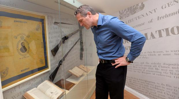 Jarlath Burns at the official opening of the new Museum of Orange Heritage in Sloan's House, Loughgall