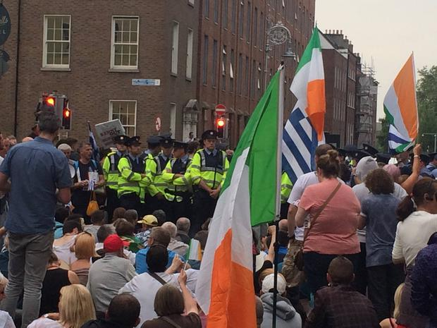 Standoff between some of the demonstrators and gardai at Leinster House in Dublin