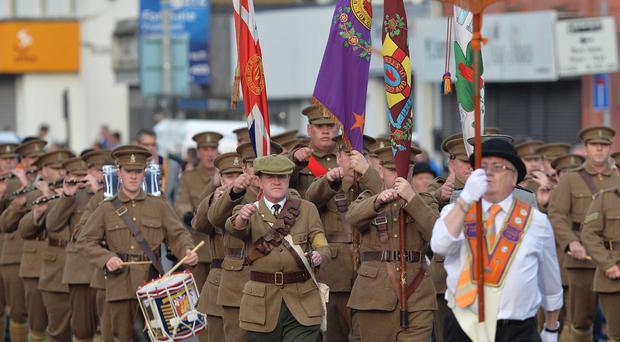 Pacemaker Press 1/7/2015 The Somme Easter Parade passes threw East Belfast, Over 40 lodges and 35 bands began their procession at Templemore Avenue to mark to 99th Anniversary of the Somme. Pic Colm Lenaghan/Pacemaker