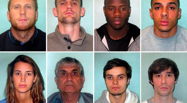 (Top row, from the left) Reece Dunford, David Mays, Vincent Kamara, Danny St Luce and (bottom row, from left) Hollie Dowding, Yair Cohen, Patrick Spencer O'Brien and Boz Burbridge, a gang of robbers who have been convicted after they were involved in a string of high profile