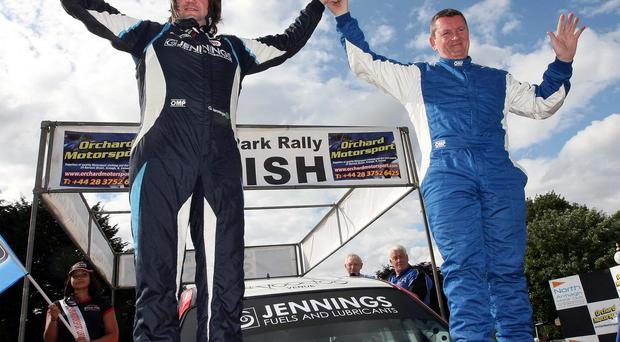 Hat-trick hero: Lurgan Park Rally winners Garry Jennings and Michael Moran, who won the event for a third time in a row