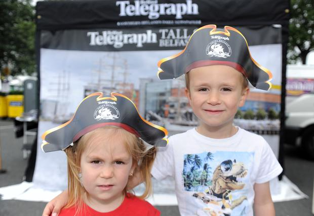 Press Eye - Belfast - Northern Ireland - 3rd July 2015 - (L-R) Aran and Sophie Bodor from Hungary at Belfast Harbour during the 2015 Belfast Tall Ships Race organised by Sail Training International and welcomed by Lidl. Picture by Declan Roughan / Press Eye.