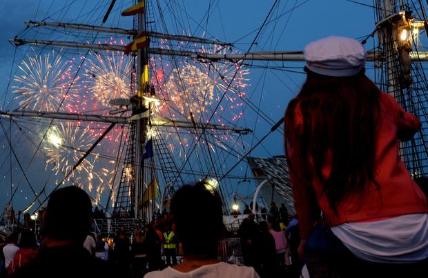 A Fireworks works display during the Tall Ships Maritime festival at the City's dock in Belfast.