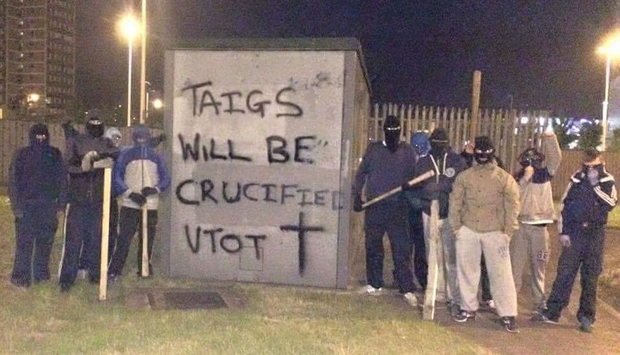 Graffiti allegedly daubed near Belfast's Broadway roundabout