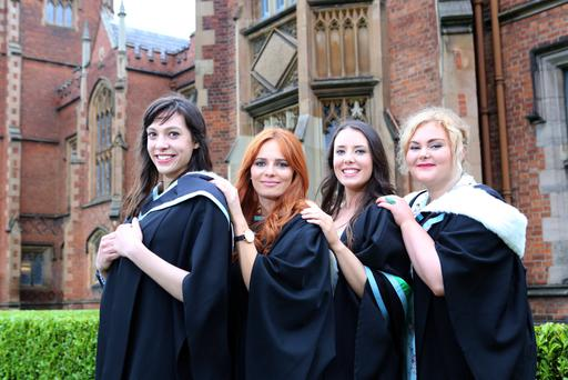 Allix Baxter, Alexandra Burnside, Rebecca O'Rourke and Hannah Parker graduate with a BA in History and Archaeology from Queen's University Belfast.