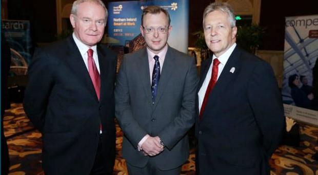 Ian Coulter, centre, with Deputy First Minister Martin McGuiness and First Minister Peter Robinson.