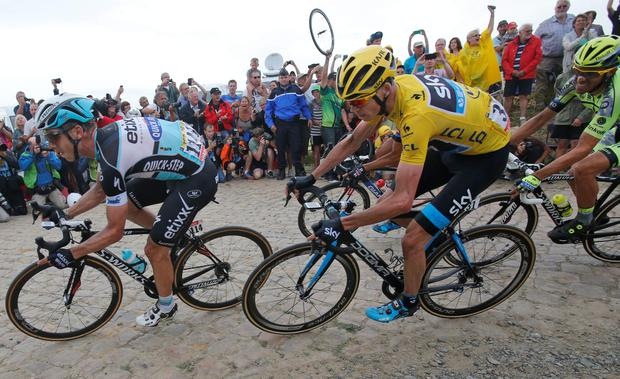 Well placed: Chris Froome was happy to stay out of trouble over the cobbles ahead of the testing mountain stages
