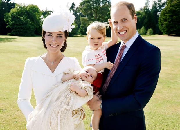 The Duke and Duchess of Cambridge and their children, Prince George and Princess Charlotte who was christened at Sandringham on Sunday July 5, 2015. Photo: Mario Testino / Art Partner