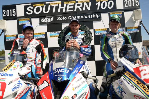 Top man: Guy Martin on the Isle of Man podium yesterday
