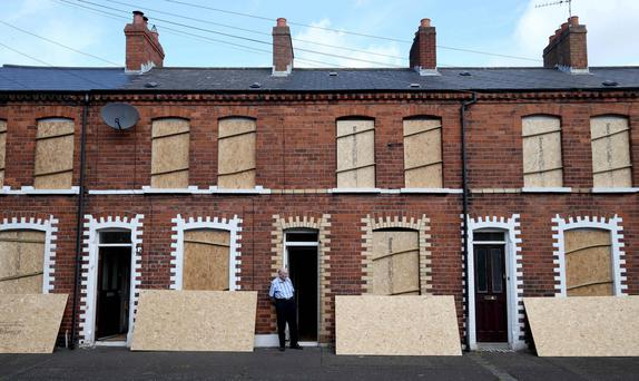 Chobham Street where more than 50 homes have been boarded up to protect them from a 11 July bonfire. Photo: Matt Mackey/Presseye