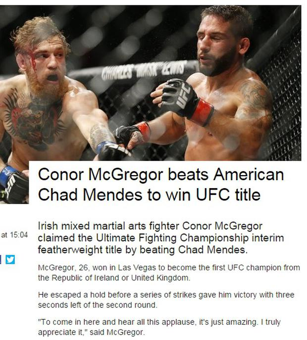 How the BBC reported Conor McGregor's win over Chad Mendes
