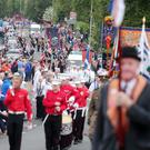 Press Eye - Belfast - Northern Ireland - 13th July 2015 Belfast's Orange Order annual 12th of July demonstration makes its way through the City Centre to the field at Malone House beside Shaws Bridge. The parade makes its way up the Lisburn Road. Picture by Jonathan Porter/Press Eye