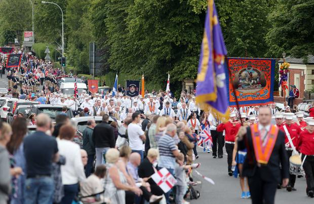 Belfast's Orange Order annual 12th of July demonstration makes its way through the City Centre to the field at Malone House beside Shaws Bridge. The parade makes its way up the Lisburn Road Picture by Jonathan Porter/Press Eye