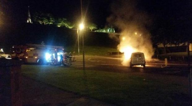 Youths hijacked and set fire to a pizza delivery van in Derry. Pic BBC