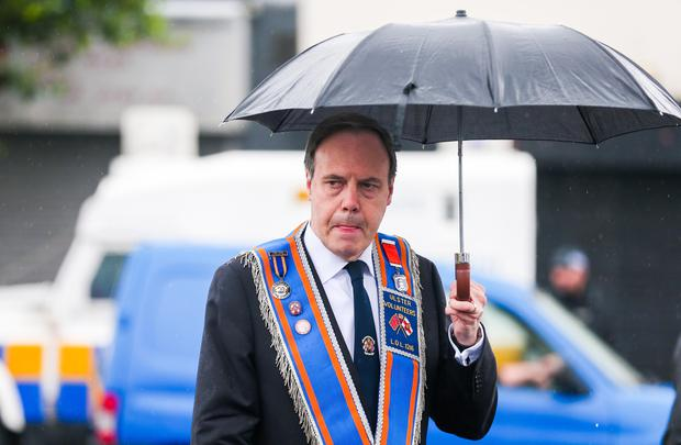 Nigel Dodds at the Orange Order parade as it makes its way past the flashpoint of the Ardoyne shops in Belfast, Northern Ireland. Picture by Kevin Scott / Presseye.