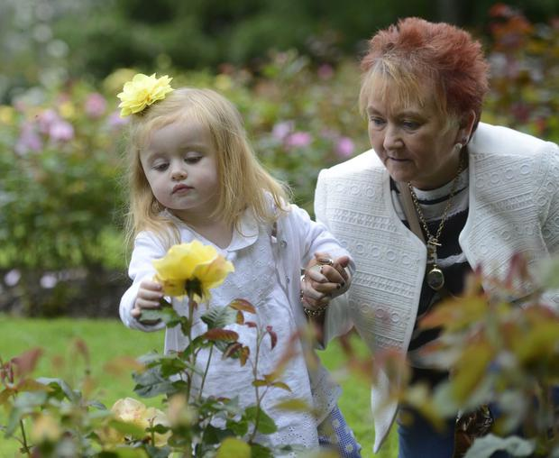 Young Jessika McErlean with her grandmother Geraldine McErlean enjoying the opening day at Belfast Rose Week at Sir Thomas and Lady Dixon Park on tuesday until Sunday 19 July. Photo Colm Lenaghan/Pacemaker Press
