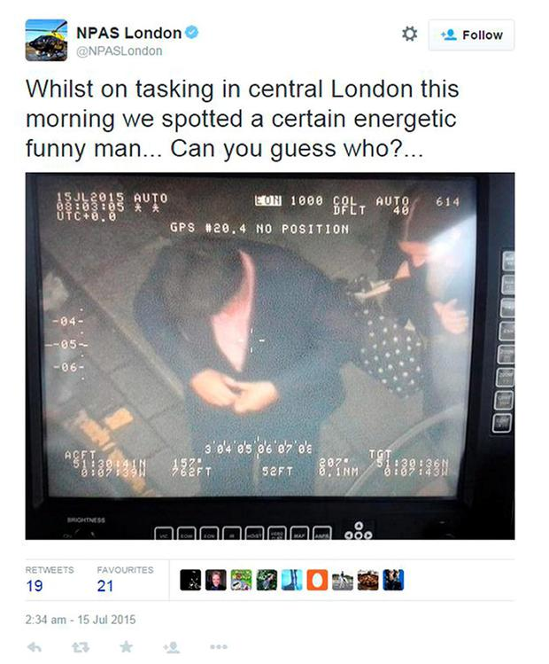 Screengrab taken from the Twitter feed of NPAS London run by the Metropolitan Police showing comedian Michael McIntyre taken by a police helicopter. Scotland Yard is investigating after the picture was posted on its Twitter account. Picture: PA/PA Wire