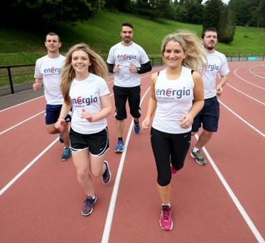 Running for a good cause are Alan Kerby, Michelle O'Neill, Darren Clarke, Sarah Gilmour and Gerard McGeown, who make up part of the Energia A and B relay teams taking part in the Energia 24 Hour Race