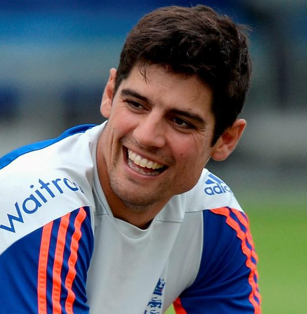 All smiles: Alastair Cook is in high spirits after first Test win