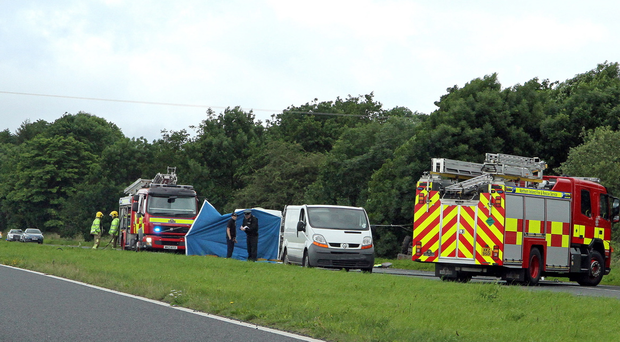 Pacemaker Press 17-07-2015: A accident on Cookstown to Moneymore Road dual carriageway this morning. A farm tractor and trailer was involved. Picture By: Pacemaker