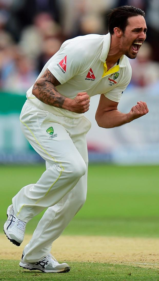 In charge: Mitchell Johnson of Australia celebrates after taking the wicket of Joe Root